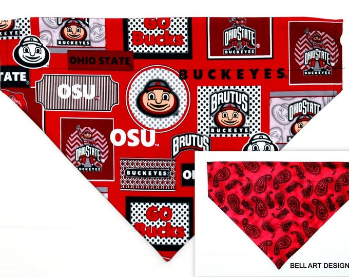 DOG BANDANA ~ Ohio State, Buckeyes, Over the Collar ~ Reversible ~ Bell Art Designs - Extra Large DCXL0256