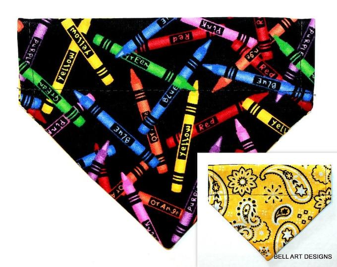 CRAYONS, Paisley, Over the Collar ~ Reversible ~ Dog Pet Bandana ~ Bell Art Designs ~ Extra Small ~ DCXS523