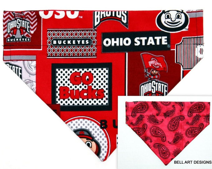 OHIO STATE ~ Over the Collar ~ Reversible ~ Dog Pet Bandana ~ Bell Art Designs ~ Medium, DCM749