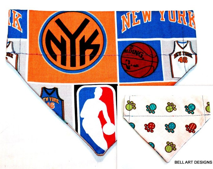 KNICKS ~ Paws, Over the Collar ~ Reversible ~ Dog Pet Bandana ~ Bell Art Designs ~ Extra Small ~ DCXS0255
