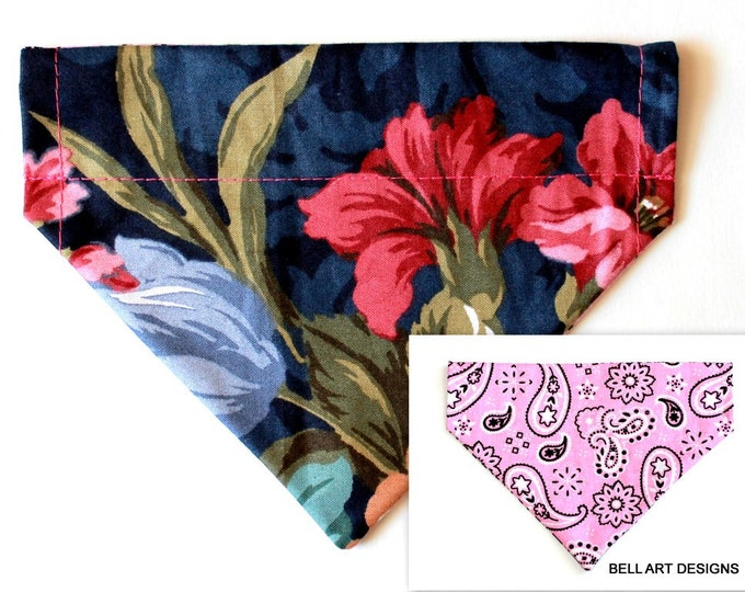 FLORAL AND PAISLEY ~ Dog Bandana ~ Over the Collar ~ Reversible ~ Bell Art Designs ~ Small DCS473