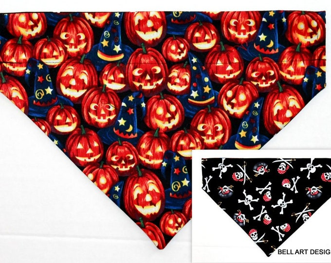 HALLOWEEN ~ Pumpkins, Pirates, Over the Collar ~ Reversible ~ Dog Pet Bandana ~ Bell Art Designs ~ Large DCL741