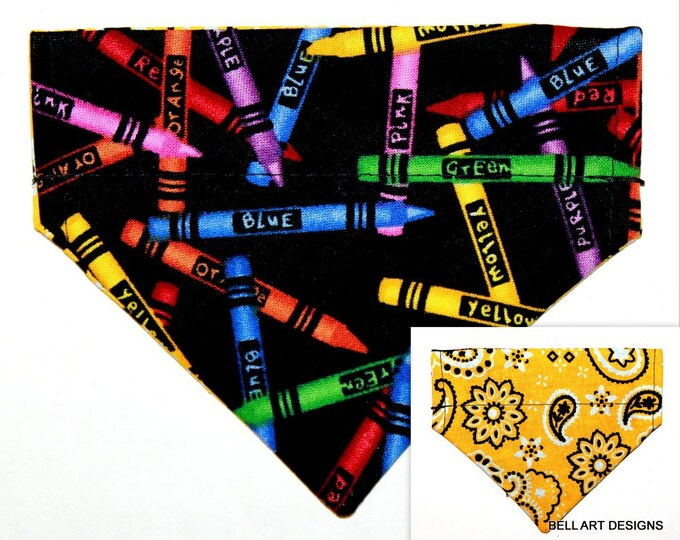 DOG BANDANA, Crayons, Paisley ~ Over the Collar ~ Reversible ~ Bell Art Designs ~ Extra Extra Small DCXXS244