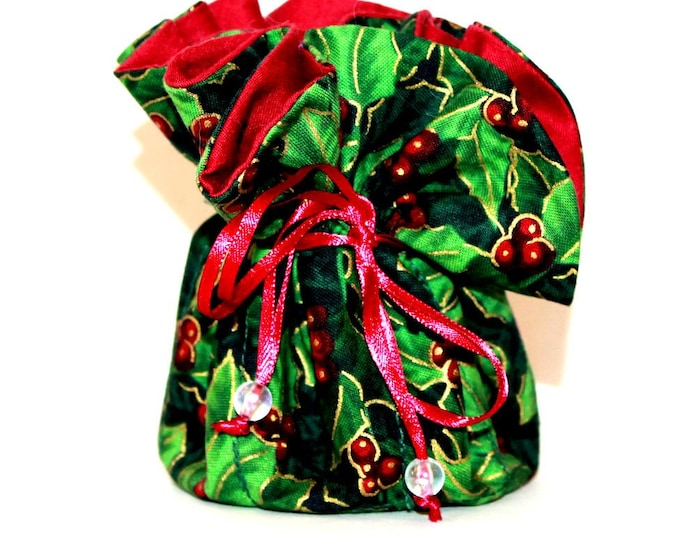 CHRISTMAS, Holly, Fabric, Jewelry Organizer ~ Pouch ~ Storage Case ~ Bag ~ Tote - Bell Art Designs ~ Medium 444