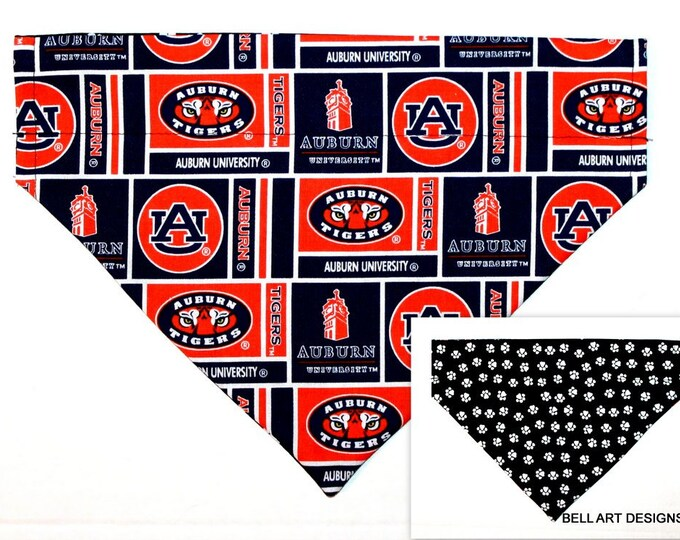 AUBURN UNIVERSITY ~ Over the Collar ~ Reversible ~ Dog Pet Bandana ~ Bell Art Designs ~ Large DCL778