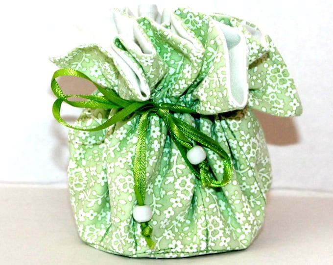 GREEN FLORAL, Fabric, Jewelry Organizer ~ Pouch ~ Storage Case ~ Bag ~ Tote - Bell Art Designs ~ Medium 435