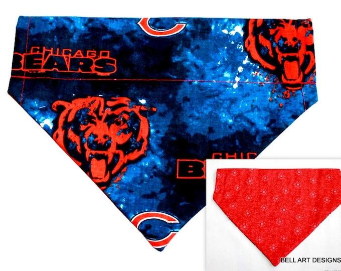 DOG BANDANA ~ Chicago Bears ~ Over the Collar ~ Reversible ~ Bell Art Designs ~ Medium ~ DCM0448