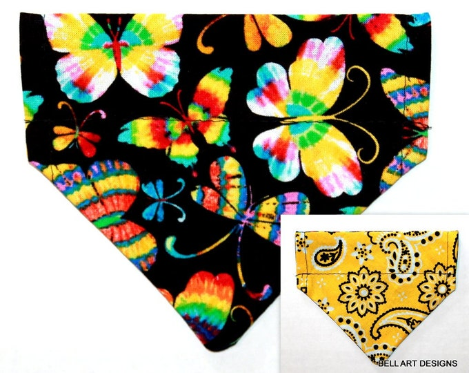 DOG BANDANA, Butterflies, Paisley ~ Over the Collar ~ Reversible ~ Bell Art Designs ~ Extra Extra Small DCXXS253