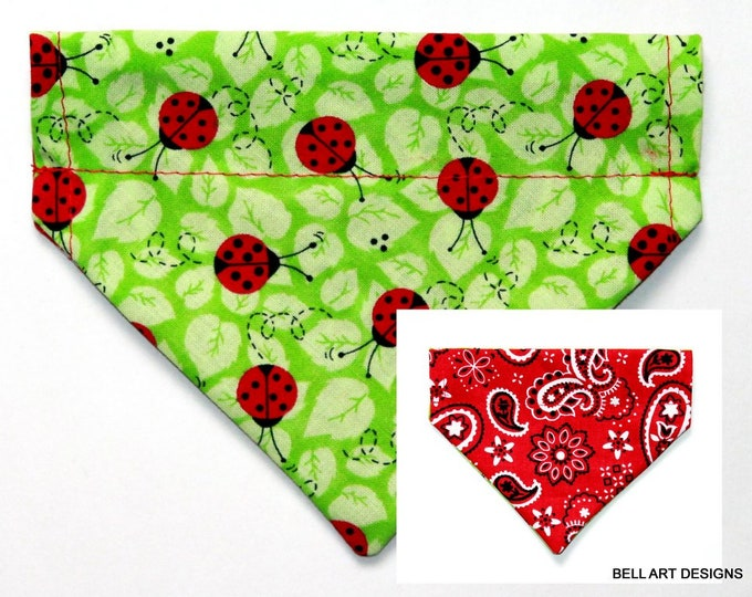 LADY BUGS ~ Over the Collar ~ Reversible ~ Dog Pet Bandana ~ Bell Art Designs ~ Extra Small ~ DCXS0416