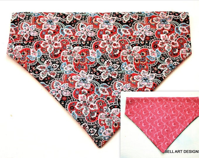 DOG BANDANA ~ Floral ~ Over the Collar ~ Reversible ~ Bell Art Designs, Medium, DCM0789