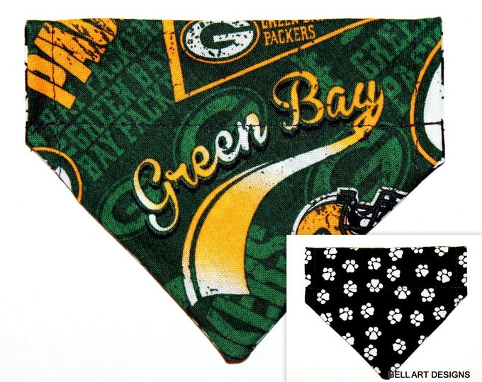 Over the Collar ~ Reversible ~ Dog Pet Bandana ~ Packers, Bell Art Designs ~ Extra Extra Small DCXXS247