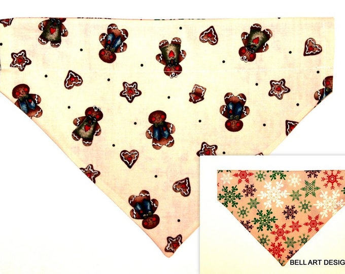 DOG BANDANA ~ Over the Collar ~ Reversible ~ Gingerbread Man ~ Bell Art Designs ~ Large ~ DCL0626