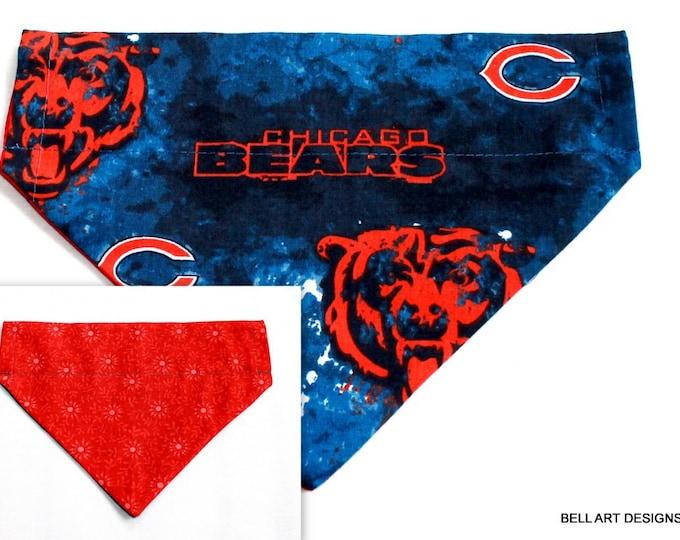 DOG BANDANA ~ Chicago Bears ~ Over the Collar ~ Reversible ~ Bell Art Designs ~ Medium ~ DCM0447