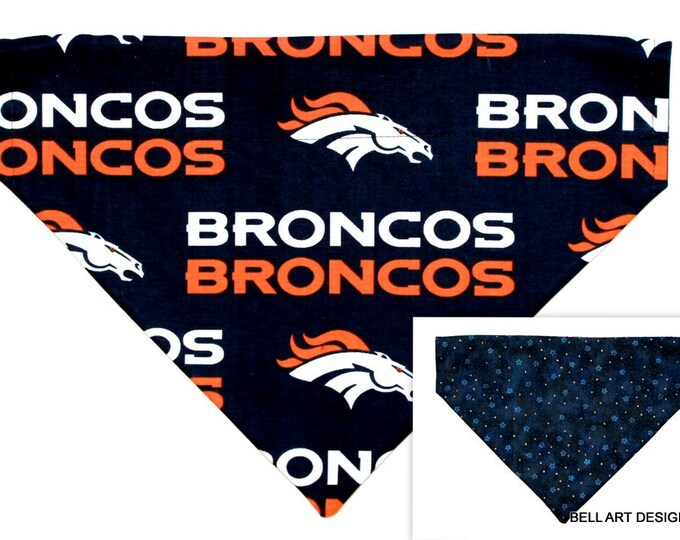 DOG BANDANA ~ Denver, Broncos, Over the Collar ~ Reversible ~ Bell Art Designs - Extra Large 273