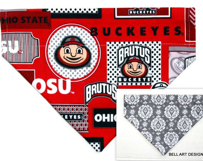 OHIO STATE ~ Over the Collar ~ Reversible ~ Dog Pet Bandana ~ Bell Art Designs ~ Medium, DCM747