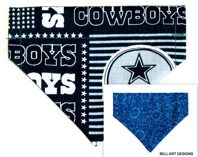 DALLAS COWBOYS ~ Over the Collar ~ Reversible ~ Dog Pet Bandana ~ Bell Art Designs ~ Extra Extra Small DCXXS0048