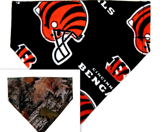 Over the Collar ~  Bengals, Cincinnati, Forest, Reversible ~ Dog Pet Bandana ~ Bell Art Designs ~ Extra Extra Small 258