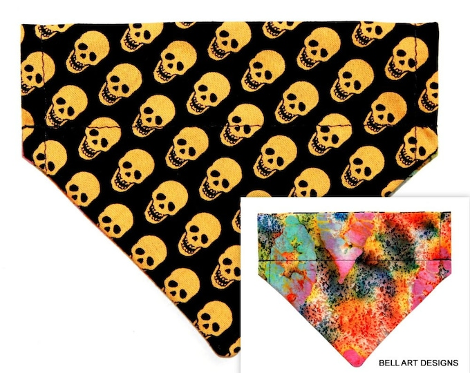 GOLD SKULLS, Over the Collar and Reversible, Dog Bandana ~ Bell Art Designs ~ XXS215