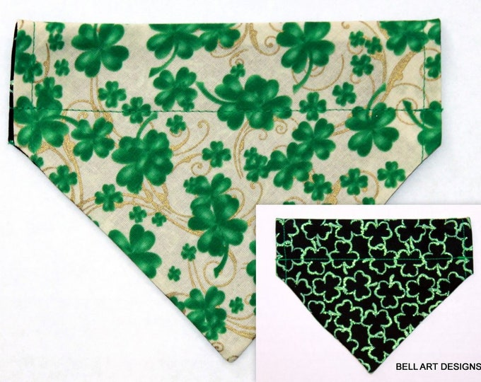 SHAMROCKS ~ Over the Collar ~ Reversible ~ Dog Pet Bandana ~ Bell Art Designs ~ Extra Small ~ 435