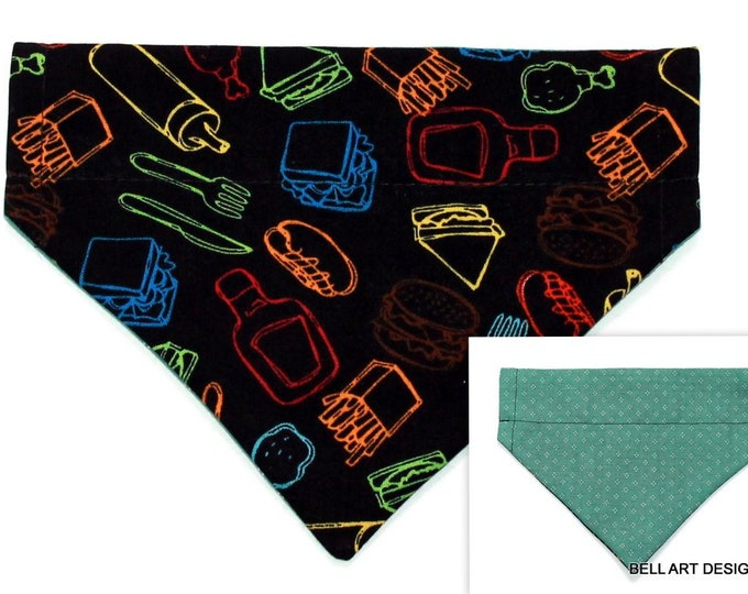 DOG BANDANA ~ Over the Collar ~ Reversible ~ Picnic ~ Bell Art Designs ~ Small DCS329