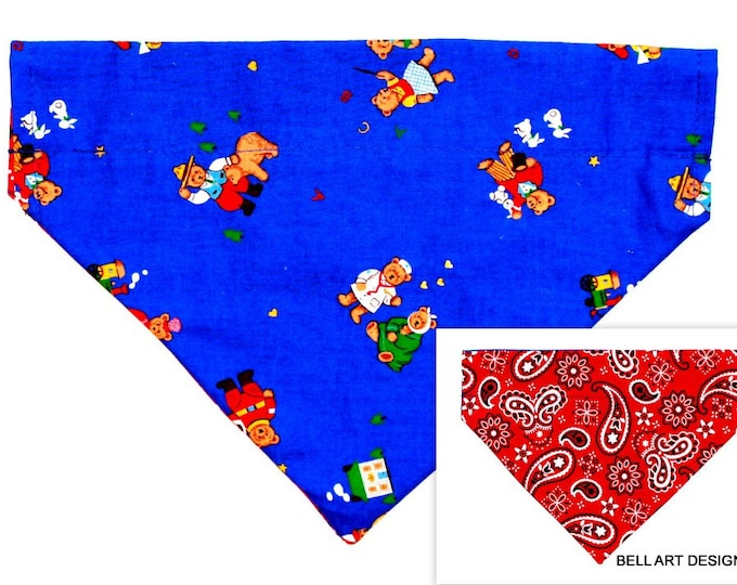 DOG BANDANA ~ Occupational Bears ~ Over the Collar ~ Reversible ~ Bell Art Designs ~ Large 819