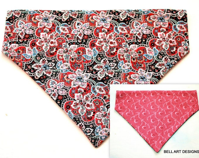 FLORAL ~ Over the Collar ~ Reversible ~ Dog Pet Bandana ~ Bell Art Designs ~ Large ~ DCL0160