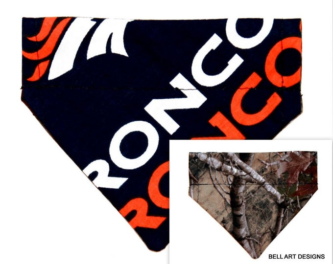 Over the Collar ~ Denver, Broncos, Forest, Reversible ~ Dog Pet Bandana ~ Bell Art Designs ~ Extra Extra Small 262