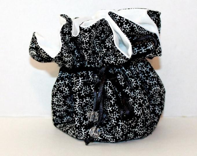 Black and White Design, Fabric, Jewelry Organizer ~ Pouch ~ Storage Case ~ Bag ~ Tote - Bell Art Designs ~ Medium 441