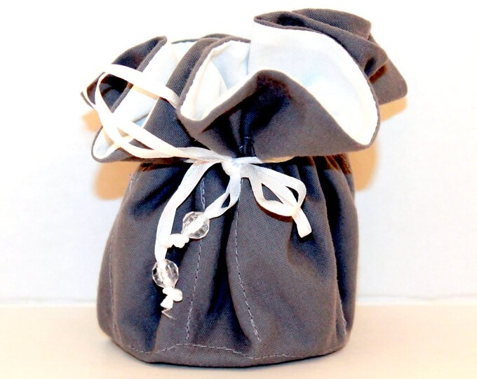 GREY AND WHITE, Fabric, Jewelry Organizer ~ Pouch ~ Storage Case ~ Bag ~ Tote - Bell Art Designs ~ Medium 429