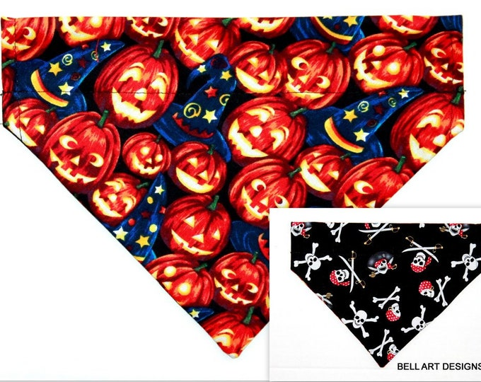 HALLOWEEN ~ Pumpkins, Pirates, Over the Collar ~ Reversible ~ Dog Pet Bandana ~ Bell Art Designs ~ Medium DCM0752