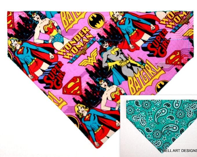 Wonder Woman, Batgirl ~ Over the Collar ~ Reversible ~ Dog Pet Bandana ~ Bell Art Designs ~ Large 755