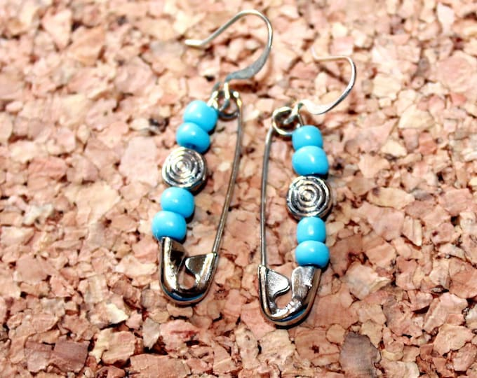 Turquoise colored Beaded Safety Pin Earrings, Retro Earrings,  Dangle Earrings, Bell Art Designs 148