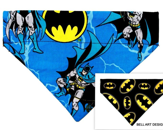 DOG BANDANA ~ Over the Collar ~ Reversible ~ Batman ~ Bell Art Designs ~ Small DCS553