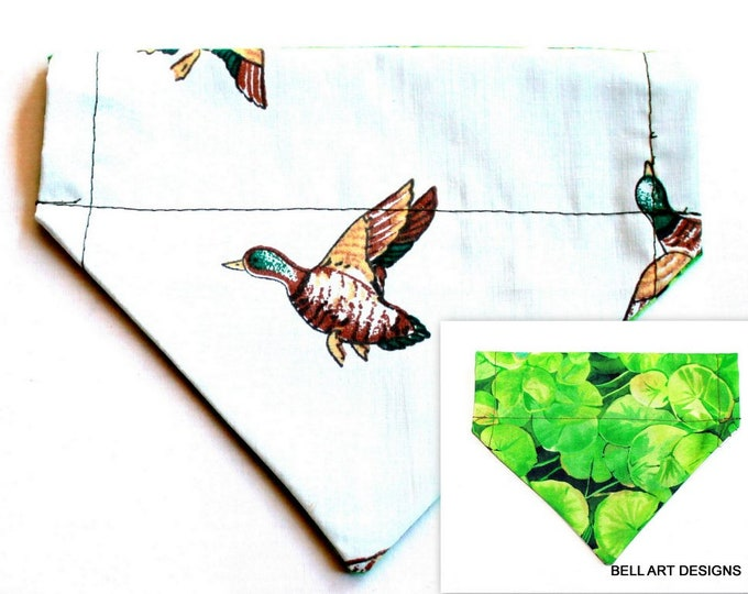 DOG BANDANA ~ Over the Collar ~ Reversible ~ Ducks, Hunting, Lily Pad ~ Bell Art Designs ~ Small 186