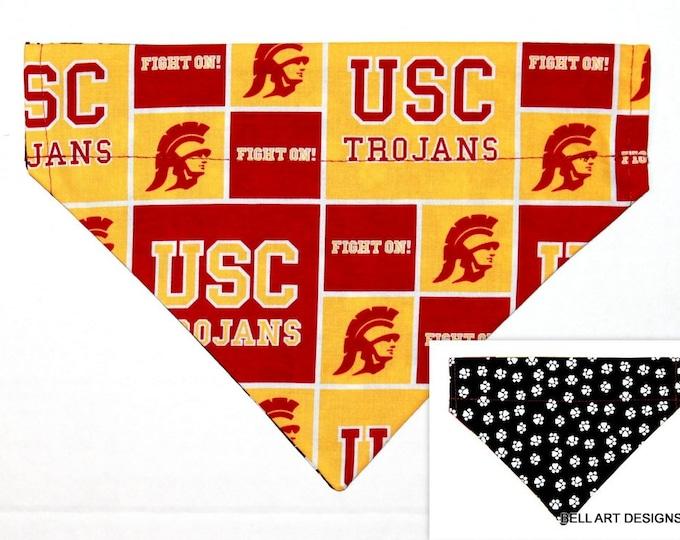 DOG BANDANA ~ USC Trojans ~ Southern California, Over the Collar ~ Reversible ~ Bell Art Designs ~ Medium ~ DCM0801