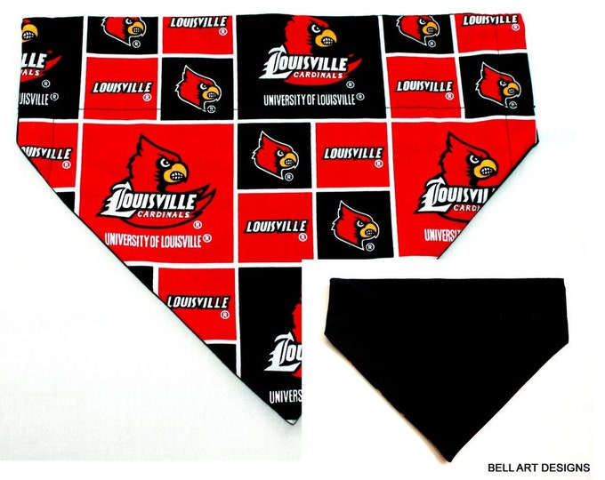 UNIVERSITY LOUISVILLE ~ Over the Collar ~ Reversible ~ Dog Pet Bandana ~ Bell Art Designs ~ Large DCL0041