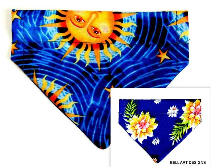 DOG BANDANA, Celestial Sun, Floral ~ Over the Collar ~ Reversible ~ Bell Art Designs ~ Extra Extra Small 43