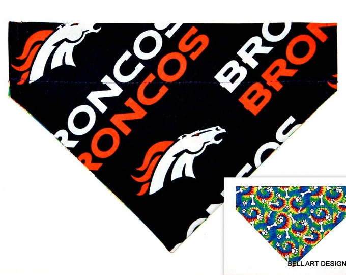 DOG BANDANA ~ Broncos, Denver, Over the Collar ~ Reversible ~ Bell Art Designs ~ Medium ~ 792