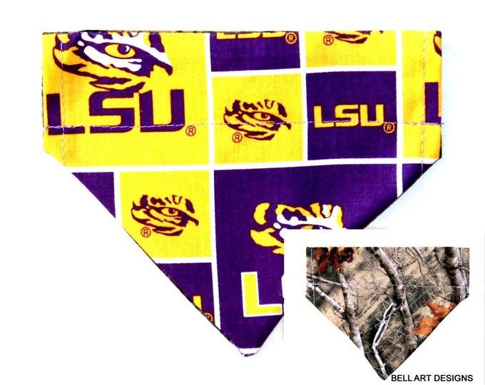 LSU, Louisiana ~ Over the Collar ~ Reversible ~ Dog Pet Bandana ~ Bell Art Designs ~ Extra Small 529