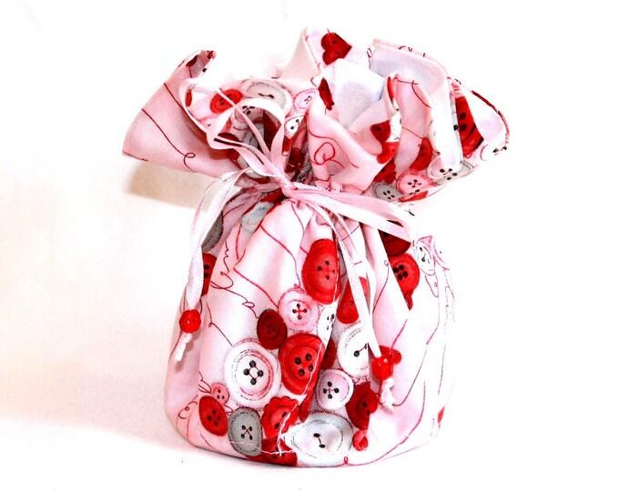 BUTTON HEARTS Fabric Jewelry Organizer ~ Pouch ~ Storage Case ~ Bag ~ Tote - Bell Art Designs ~ Medium JBMD0354