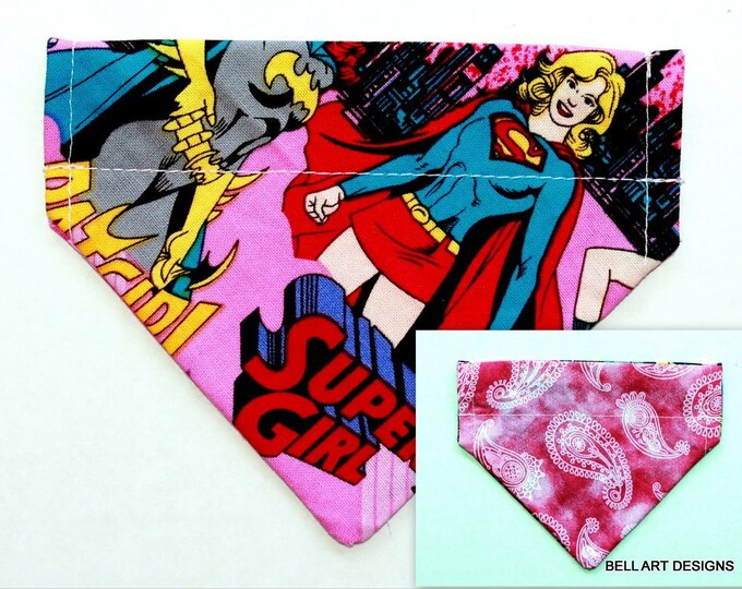 BATGIRL, Supergirl, Paisley ~ Over the Collar ~ Reversible ~ Dog Pet Bandana ~ Bell Art Designs ~ Extra Extra Small ~ 175