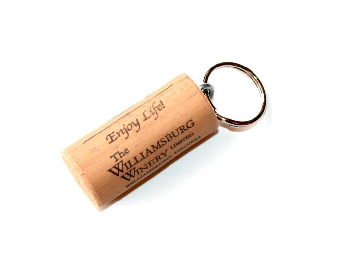 WINE CORK KEYCHAIN, Williamsburg Winery, Floating, Multiple Key, Bell Art Designs, KC0118/187