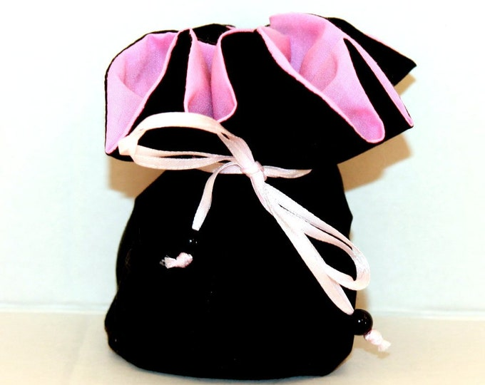 BLACK AND PINK, Fabric, Jewelry Organizer ~ Pouch ~ Storage Case ~ Bag ~ Tote - Bell Art Designs ~ Medium 430