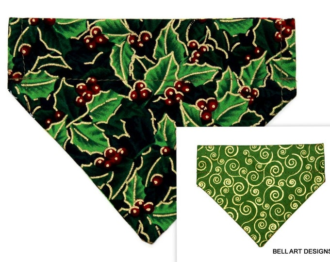 CHRISTMAS ~ Holly, Gold Swirls ~ Over the Collar ~ Reversible ~ Dog Pet Bandana ~ Bell Art Designs ~ Extra Small ~ DCXS0393