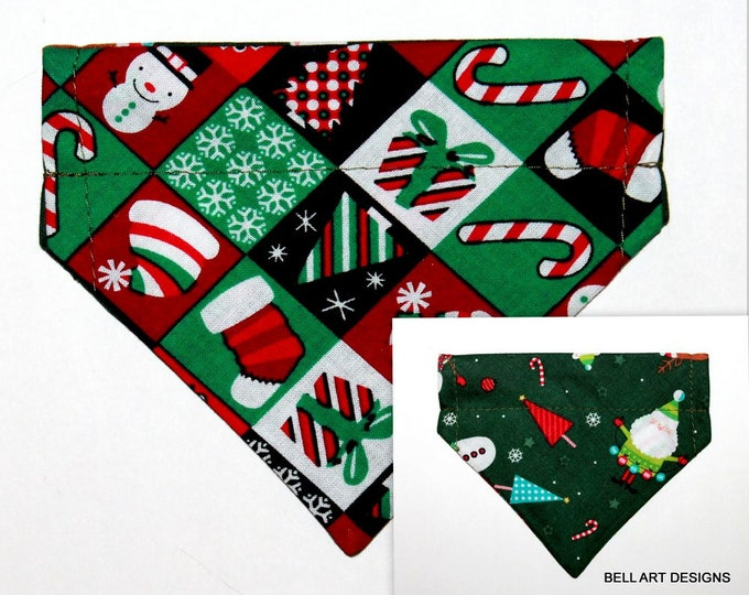 CHRISTMAS ~ Over the Collar ~ Reversible ~ Dog Pet Bandana ~ Bell Art Designs ~ Extra Extra Small DCXXS123