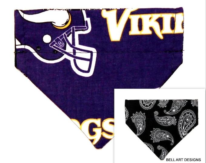 DOG BANDANA ~ Over the Collar ~ Reversible ~ Minnesota Vikings ~ Bell Art Designs ~ Extra Extra Small 273