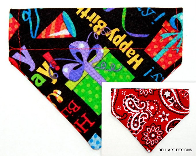 HAPPY BIRTHDAY, Over the Collar and Reversible, Dog Bandana ~ Bell Art Designs ~ XXS210