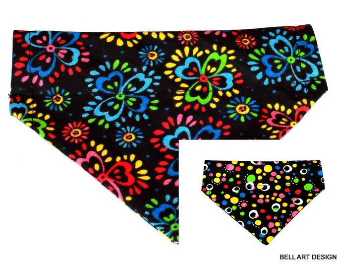 Retro Flowers and Circles, Over the Collar ~ Reversible ~ Dog Pet Bandana ~ Bell Art Designs ~ Extra Small ~ 232