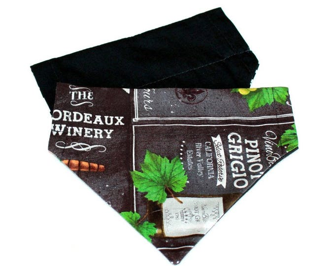DOG BANDANA ~ Over the Collar ~ Reversible ~ Wine Labels and Black ~ Bell Art Designs ~ SMALL DCS146