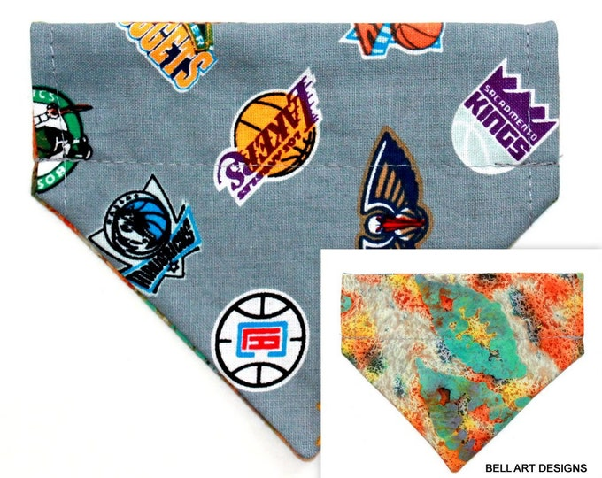 DOG BANDANA, Basketball~ Over the Collar ~ Reversible ~ Sports ~ Bell Art Designs ~ Extra Extra Small DCXXS220